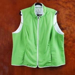 COLDWATER CREEK Green Reversible Full Zip Vest 2X